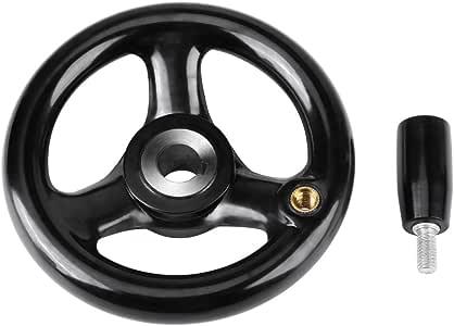 Hand Wheel 250 /× 25mm 3 Spoked Milling Hand Wheel Bakelite Plastic Insulation Lathe Handwheel Anti-Slip with Handle for Machine Tool