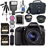 Canon EOS 80D DSLR Camera with 18-55mm Lens + 58mm Wide Angle Lens + 58mm 2x Lens + Canon 100ES EOS Shoulder Bag Bundle