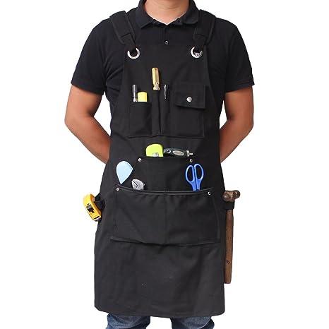 Benail Delantal de trabajo resistente e impermeable hecho de lona encerada resistente con bolsillos y correas