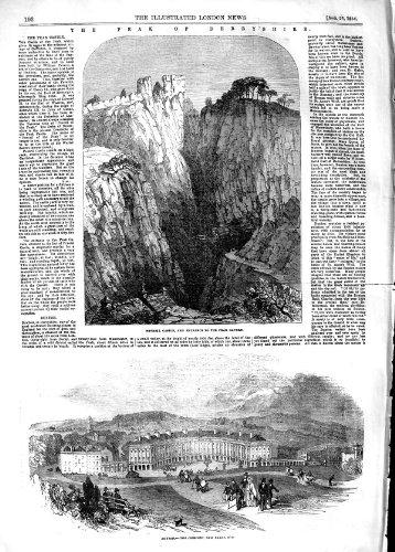 old-print Print 1854 Peveril Castle Peak Cavern Derbshire Buxton Baths ()