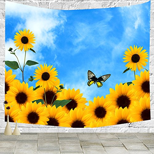 - Enjoy the sunshine sunflowers in the blue sky butterfly Tapestry wall hanging Tapestry Blanket Decorate Home table Bedroom Living Room (60x40 inches)
