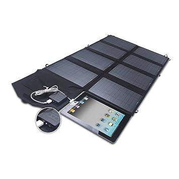 SUNKINGDOM 52W Cargador Solar de Doble Salida (24V DC y 5V USB) Cargador de Panel Solar para iPhone, iPad, Samsung, Laptops y Más