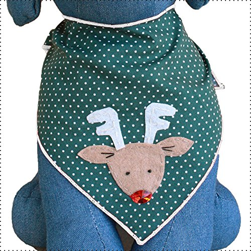 Product image of Tail Trends Christmas Dog Bandanas Red Nosed Reindeer Designer Appliques 100% Cotton (L)