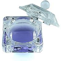 Crystal Clear Acrylic Liquid Powder Glass Dappen Dish Glass Cup w Cap Lid Bowl for Acrylic Nail Art Transparent Kit, HJ…