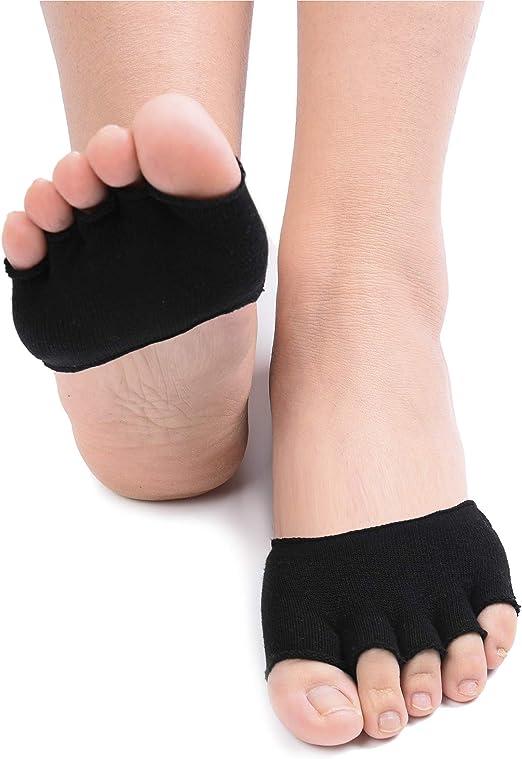 Toe Topper Liner Socks Five Fingers Half Toe Socks with Non-Skid Bottom
