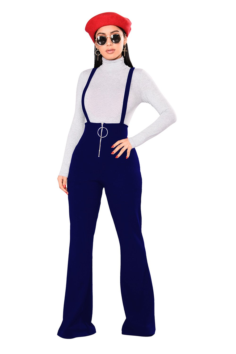 Lettre d'amour Women Bootcut and Flare Zipper Long Pants Rompers Jumpsuits Suspenders Trousers Overalls Blue M