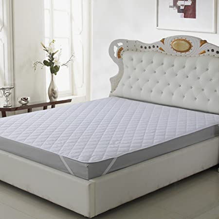 Om Craft Villa Microfiber Waterproof and Dust Proof Mattress Protector - Double Bed, White