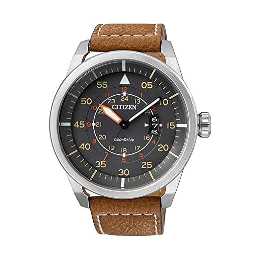 04e8eaff803 Citizen Men s Quartz Watch with Black Dial Analogue Display Quartz Leather  AW1360 LIP-12H  Amazon.co.uk  Watches