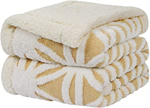 """PiccoCasa Sherpa Fleece Blanket Throw Size,Fuzzy Soft Reversible Blanket,Fluffy Plush Throw Blanket with 3D Jacquard Snowflake Pattern for Bed/Couch/Sofa/Office/Camping (Yellow, 50"""" x 60"""")"""