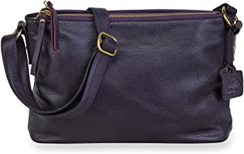 Amazon.com  Levenger Alexa Leather Double-Zip Handbag - Plum  Computers    Accessories 7372c7c2e8cdb