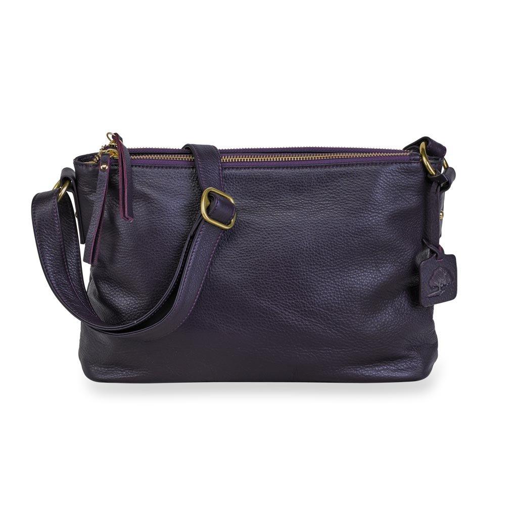 Levenger Alexa Leather Double-Zip Handbag - Auburn  Handbags  Amazon.com f82e2f7f2fcf8