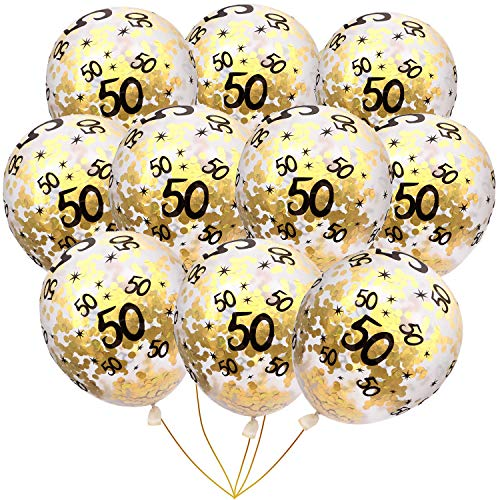 50th Wedding Anniversary Balloons (BudiCool 50th Birthday Decorations 12 Inches Gold Confetti Balloons for Happy Birthday Party Supplies 50th Anniversary Decorations(Pack of)