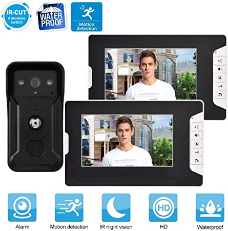 7 inch WiFi Wired Camera Video Door Phone Kit with 2 LCD Monitors Support Unlock IR Night Vision Garsent Video Intercom UK Waterproof Doorbell Intercom System Kit for IOS//Android.