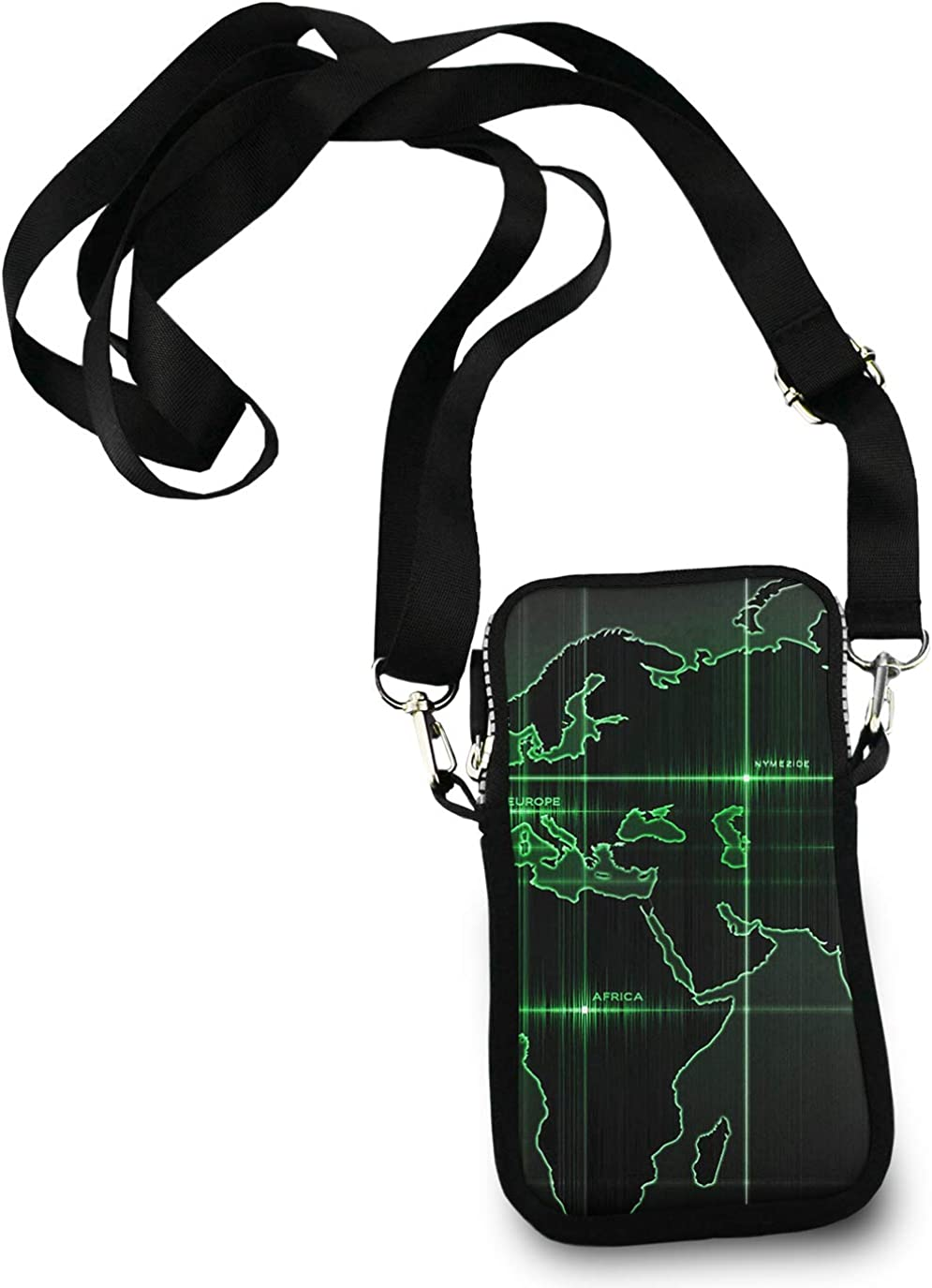 Roomy Pockets Series earth World map Art Small Crossbody Bag Cell Phone Purse Wallet For Women Girls
