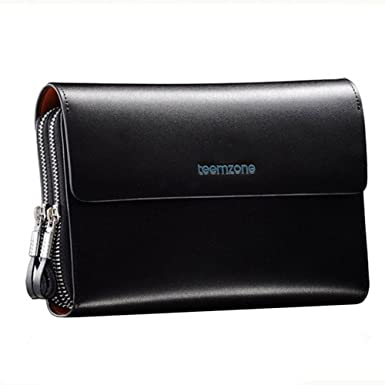 Men s Genuine Leather Zipper Wallet Handbag Organizer Checkbook Purse  (Black) 6e2587c5e5