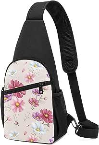 Bolso de hombro con patrón de flores dibujado a mano, mochila ligera para el pecho, bolsa cruzada, para viajes, senderismo, para hombres y mujeres