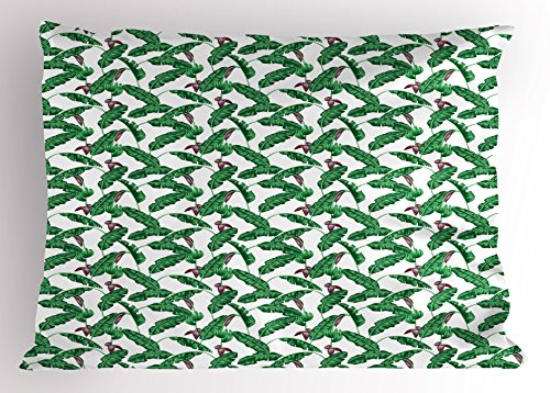Banana Leaf Pillow Sham by Ambesonne, Lush Jungle Leafage Flowering Stems of Island Tree Hawaiian Aloha Pattern, Decorative Standard Size Printed Pillowcase, 26 X 20 Inches, Green Plum White (Banana Stem Decoration)