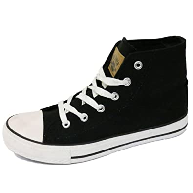 90e5153335 Boys Girls Kids Black Canvas Hi-Top Baseball Boots Trainer Shoes Pumps Size  13-5