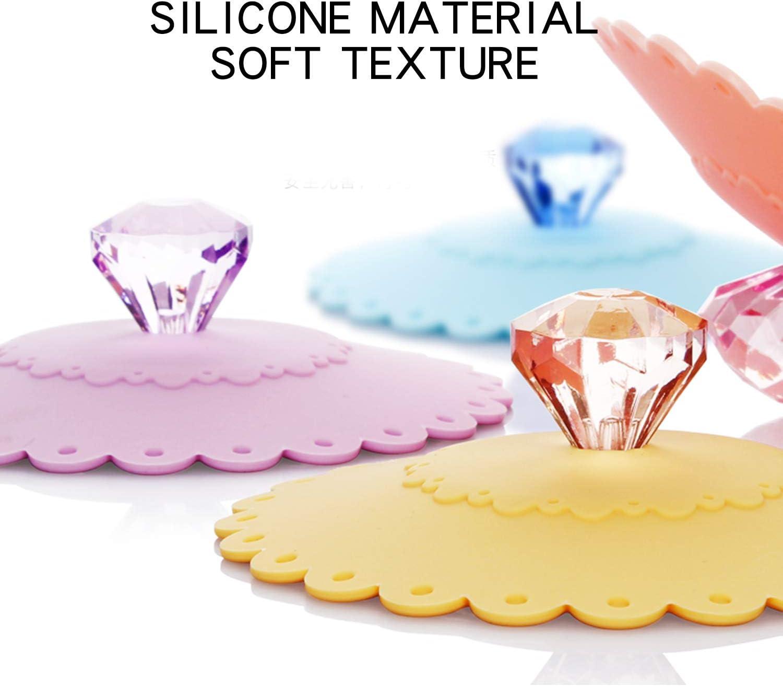 colore casuale CaLeQi dise/ño de taza de cristal 6 set Tapas de silicona para tazas