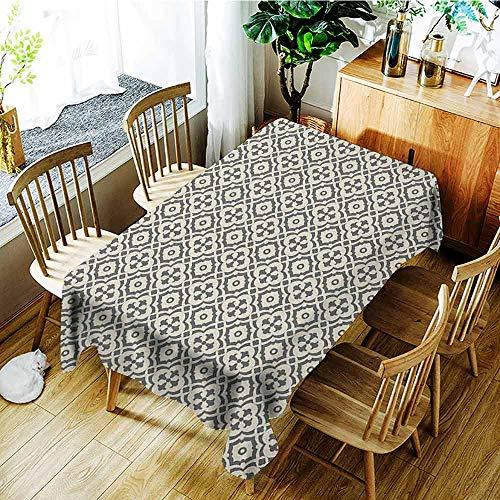 (XXANS Tablecloth,Quatrefoil,Edwardian Style Vintage Tessellation Pattern in Plain Colors Rich Floral Motifs,Dinner Picnic Table Cloth Home Decoration,W50x80L Taupe Beige)