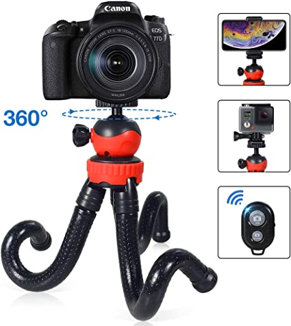 Coolux Mini Tripod Projector Mount with 360 Degrees Rotatable Heads for Projectors DSLR DVR Cameras Mini Webcam Black Mount with Metal Ballhead for Camera /…