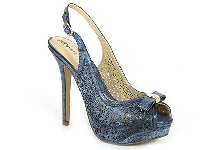 6a64fc9d50a Womens Platform Heels Ladies HIGH Heel Sling Back PEEP Toe Court Shoes Size  3 4 5 6 7 8