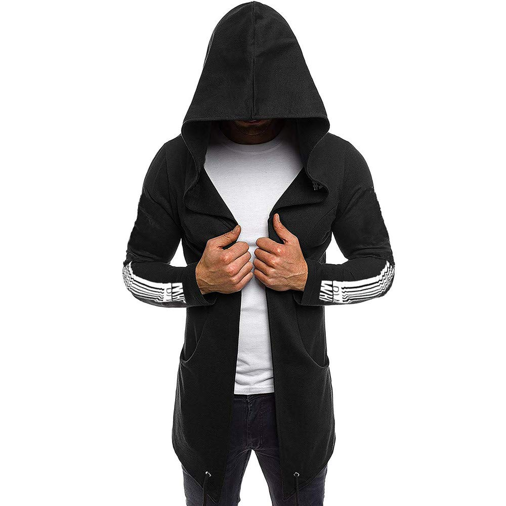 Men Splicing Hooded Solid Trench Coat Jacket Cardigan Long Sleeve Outwear Blouse PASATO New Hot!(Black, L)