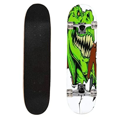 "puiuoo Vector Tattoo Dinosaur Longboard Skateboard Boys And Girls Beginners Professional Adult Road Brush Street Maple Boards Four-wheel Outdoor Sports Skateboard 31""x8"": Everything Else"