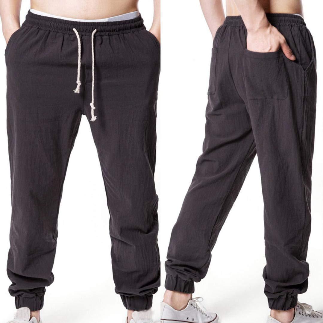 ♚ Pantalones de Verano para Hombres, Pantalones de Lino con Cordones de Color sólido para Hombres Sueltos Flojos elásticos Absolute: Amazon.es: Ropa y ...