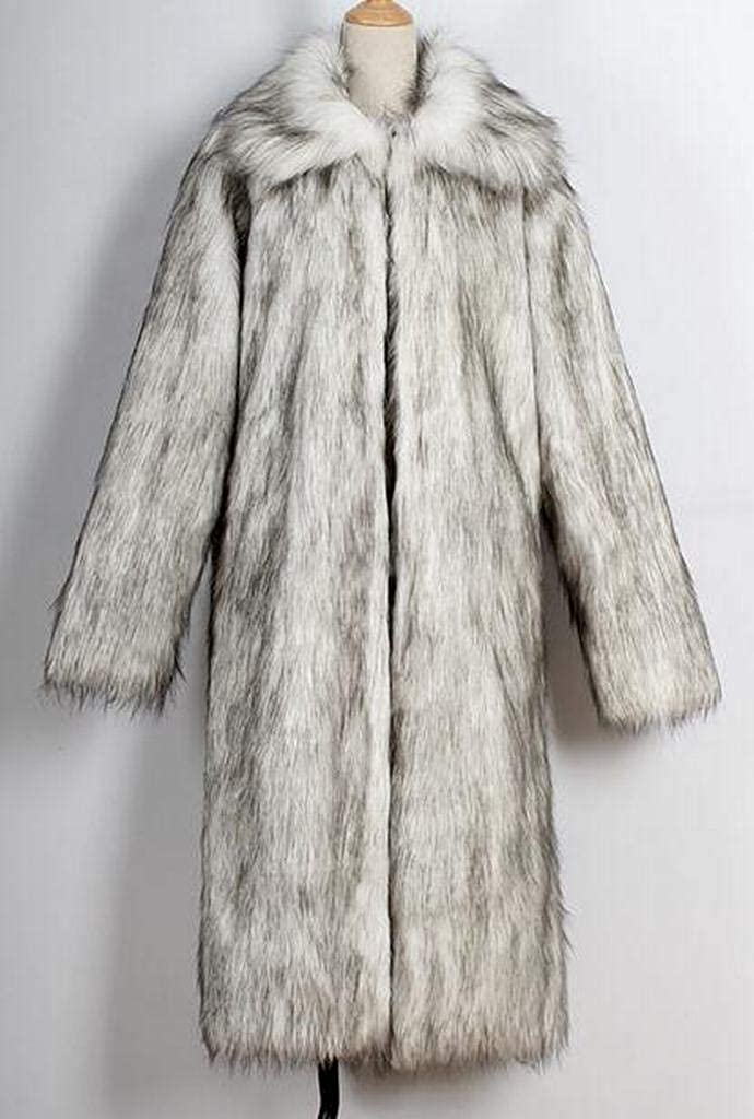 WAWAYA Men Winter Open Front Outerwear Warm Faux Fur Long Cardigan Trench Coat Overcoat