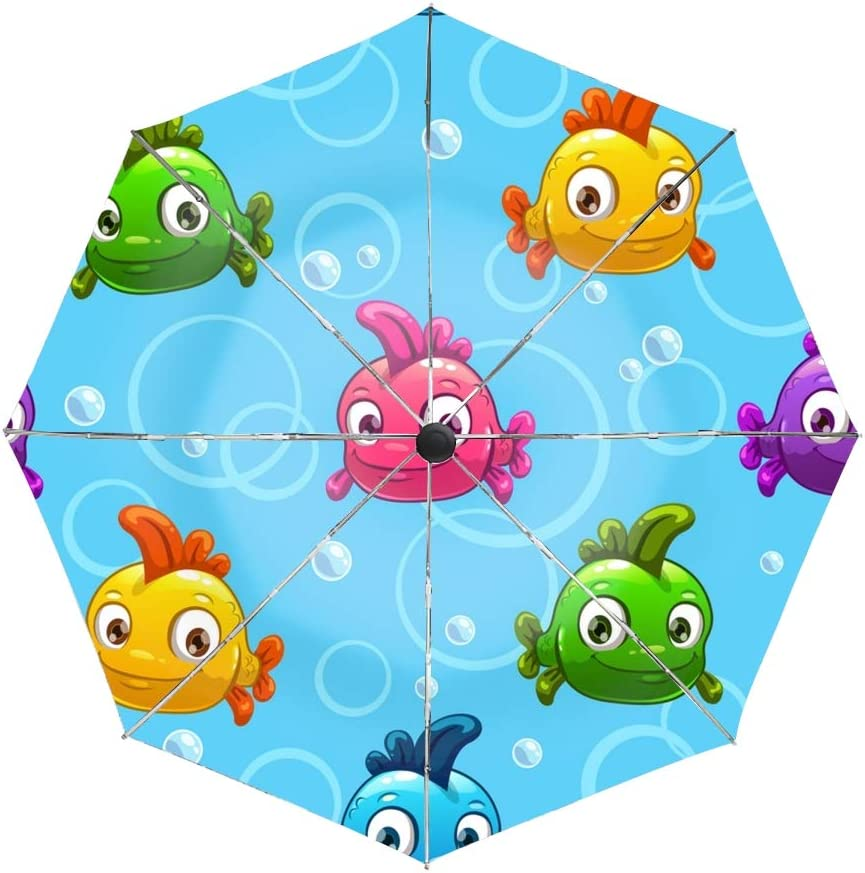 Ergonomic Non-Slip Handle Compact Umbrella,Pattern With Cartoon Colorful Fishes Automatic Folding Travel Umbrella Auto Open//Close