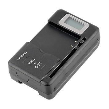 Formulaone Pantalla de indicador LCD Universal del Cargador de batería móvil Universal para teléfonos celulares con Cargador de Puerto USB para la ...