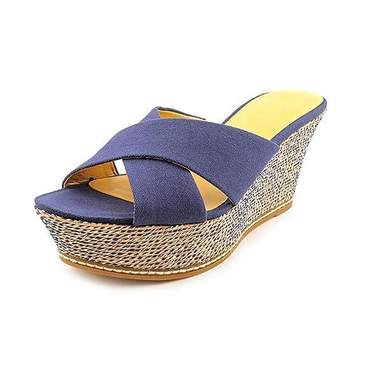 Nine West Womens HAVAHA Open Toe Casual Platform Sandals Navy Size 100