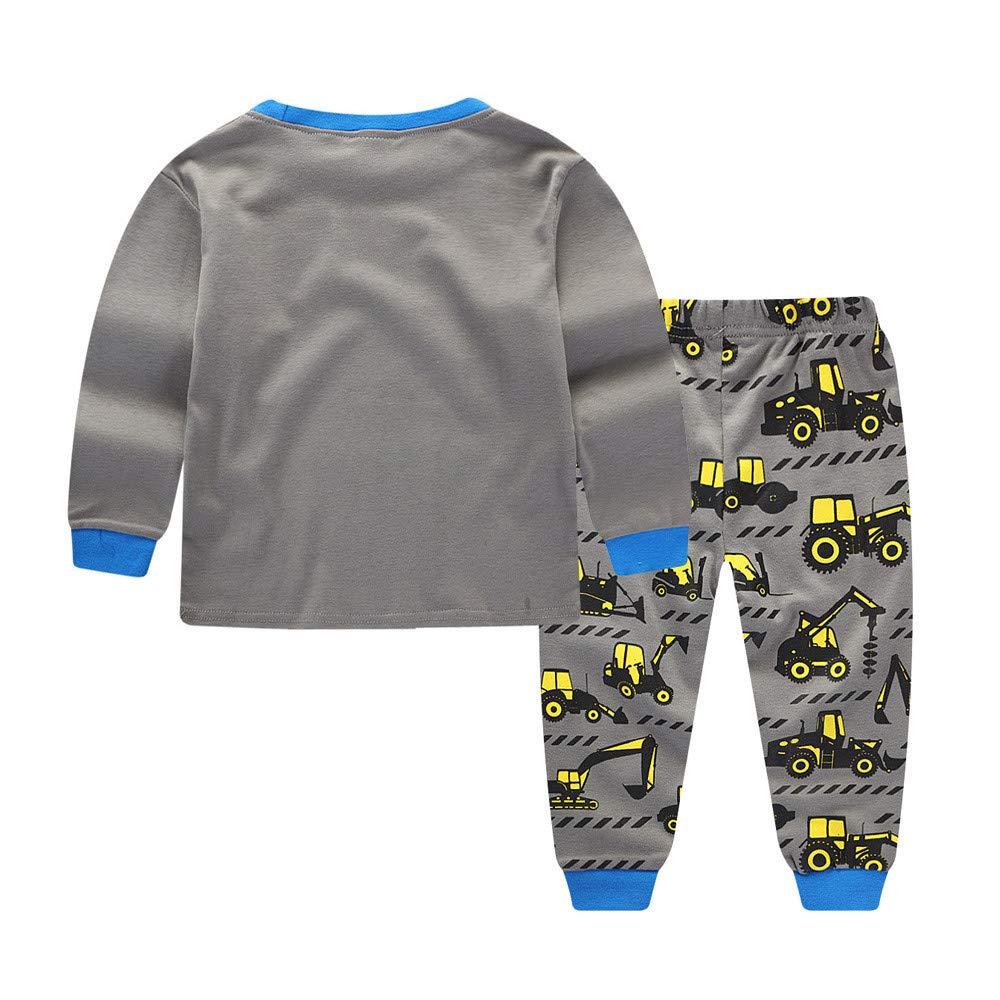 iZHH Kids Infant Baby Boys Tractors Print Cartoon Tops Pants Outfits Clothes Set
