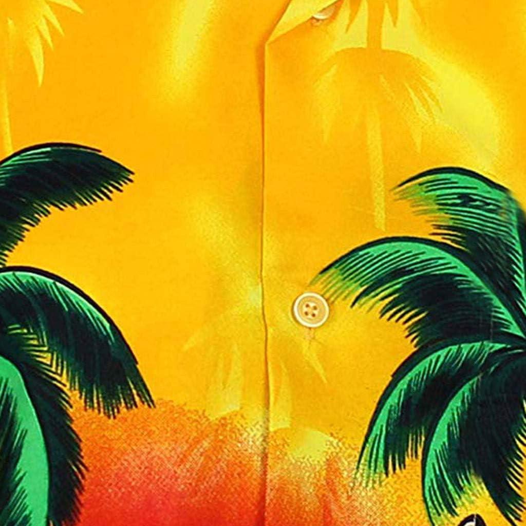 Qisc Mens Hawaiian Shirt Men Short-Sleeve Front Button Beach Palm Top Blouse