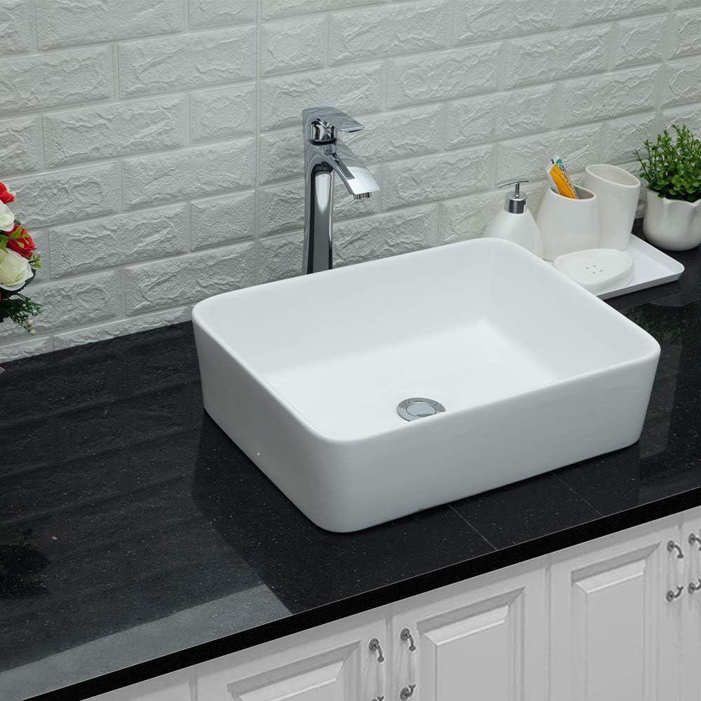 "Lordear 19""x15"" Modern Bathroom Rectangle Above White Porcelain Ceramic Vessel Vanity Sink Art Basin& Chrome Single Lever Faucet Combo"