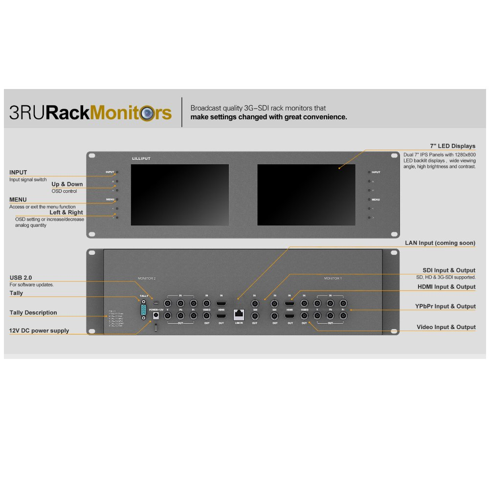 Lilliput Rm-7028s Dual 7'' 3ru Rack Monitors with Hdmi Ypbpr Tally Out 3g SDI by LILLIPUT (Image #6)