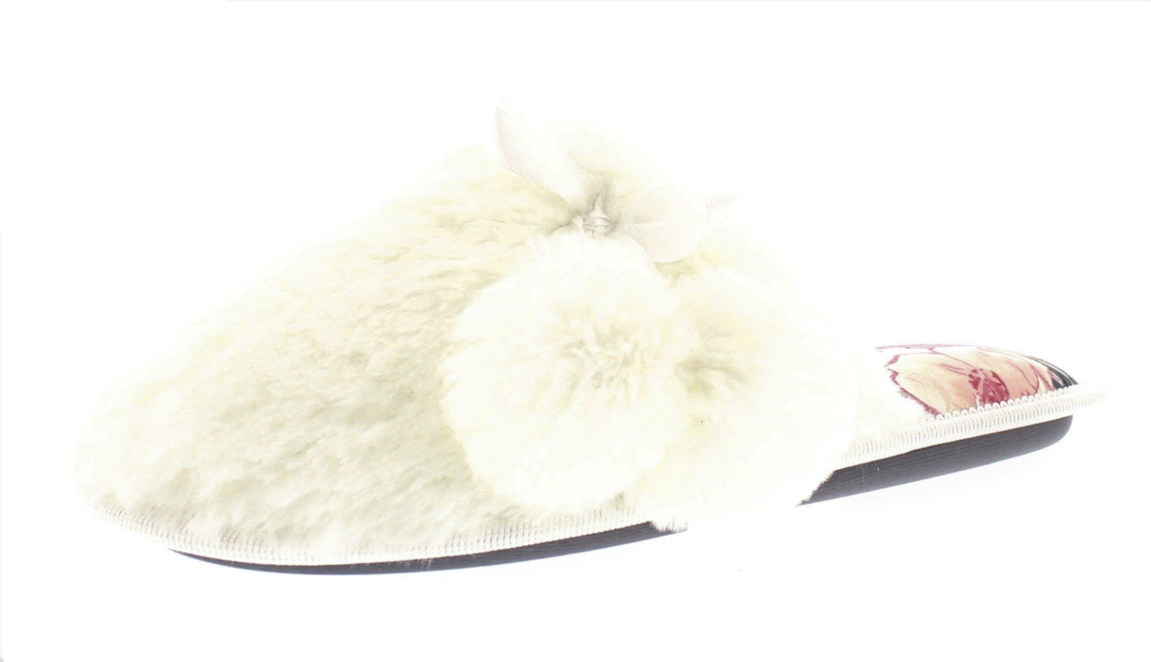 Gold Toe Women's Arabelle Fuzzy Pom Pom Memory Foam Slip On House Scuff Slipper with Floral Print Insole Ivory M 8 US