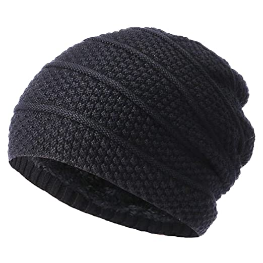 49cdf67b9ce Amazon.com  DEATU Men Women Winter Baggy Warm Crochet Wool Knit Ski Beanie  Skull Slouchy Caps Hat (a-Black)  Clothing