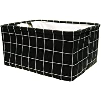 uxcell Foldable Rectangle Storage Baskets, Canvas Fabric Cube Container with Rope Handles, Storage Bins Organizers for Shelves Office Bedroom Closet Toys Laundry