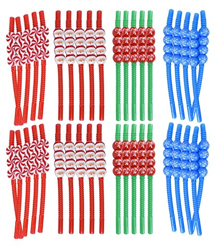 Set of 40 Christmas Reusable Straws! Santa, Snowflake, Peppermint, Candycane - 8.25