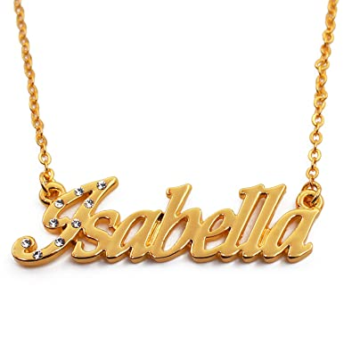 58f8a9d8bb0e Amazon.com  Zacria Name Necklace Isabella - 18K Yellow Gold Plated  Jewelry
