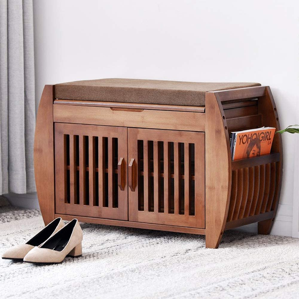 Bamboo Removable Cushion Storage Shelf Shoe Rack Bench 2-Tier Entryway Shoe Storage Organizer with Drawer and Umbrella Stand