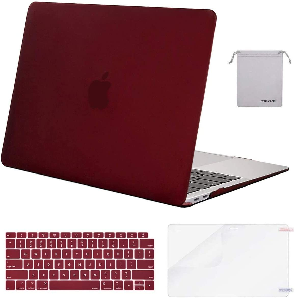 MOSISO MacBook Air 13 inch Case 2020 2019 2018 Release A2179 A1932 with Retina Display, Plastic Hard Shell&Keyboard Cover&Screen Protector&Storage Bag Compatible with MacBook Air 13, Marsala Red