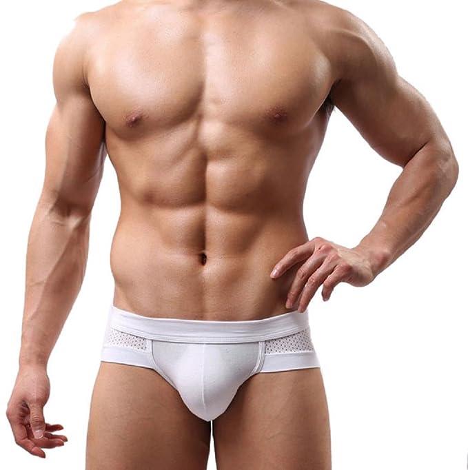 Sannysis® Ropa interior de los hombres de algodón (Blanco, L)