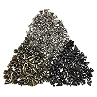 150PCS Cone Spikes Screwback Studs DIY Craft Cool Rivets Punk 7 X 10mm 1/4 inch X 3/8 inch (Silvery, Gun Black, Bronze) by CSPRING