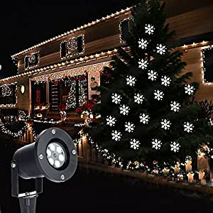 Christmas Snowflake Projector LED Outdoor Waterproof Snowfall Light for Landscape,Garden, Lawn and Holiday Decoration (White)