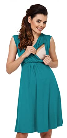 a29b4ae3f8770 Zeta Ville - Women's Maternity Nursing A-line Dress V-Neck - Sleeveless -