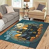 InterestPrint Halloween Haunted Castle Full Moon Night Area Rug Carpet 7 x 5 Feet, Autumn Pumpkin Modern Floor Rugs Mat for Office Home Living Dining Room Decoration