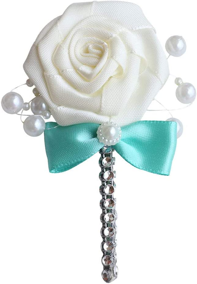 MOJUN Wedding Corsage Groom Boutonniere Cream Ribbon Rose Flower Crystal Rhinestone Pearl Beaded Brooch with Bowknot Turquoise, Pack of 4